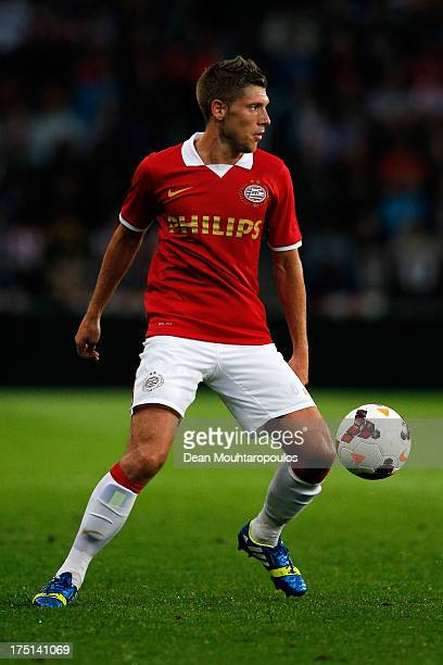 Stijn Schaars of PSV in action during the First Leg 3rd Qualifying Round UEFA Champions League match between PSV Eindhoven and SV Zulte Waregem at...