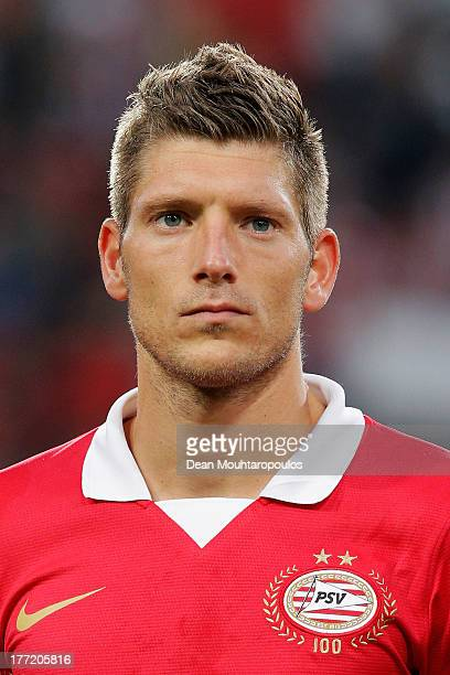 Stijn Schaars of PSV looks on prior to the UEFA Champions League Playoff First Leg match between PSV Eindhoven and AC Milan at PSV Stadion on August...