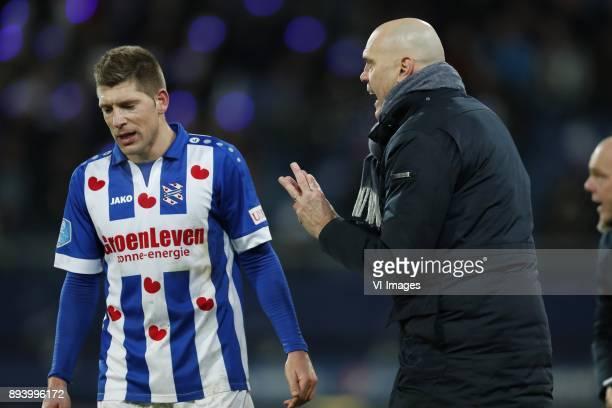 Stijn Schaars of sc Heerenveen coach Jurgen Streppel of sc Heerenveen during the Dutch Eredivisie match between sc Heerenveen and NAC Breda at Abe...