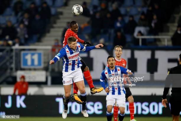 Stijn Schaars of SC Heerenveen Eyong Enoh of Willem II during the Dutch Eredivisie match between SC Heerenveen v Willem II at the Abe Lenstra Stadium...