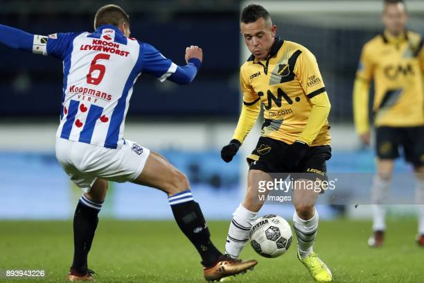 Stijn Schaars of sc Heerenveen Giovanni Korte of NAC Breda during the Dutch Eredivisie match between sc Heerenveen and NAC Breda at Abe Lenstra...