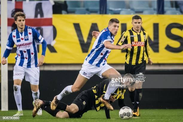 Stijn Schaars of sc Heerenveen Tim Matavz of Vitesse during the Dutch Eredivisie match between Vitesse Arnhem and sc Heerenveen at Gelredome on...