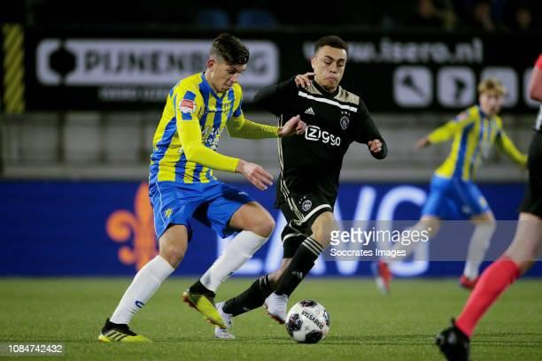 Stijn Spierings of RKC Waalwijk Sergino Dest of Ajax U23 during the Dutch Keuken Kampioen Divisie match between RKC Waalwijk v Ajax U23 at the...