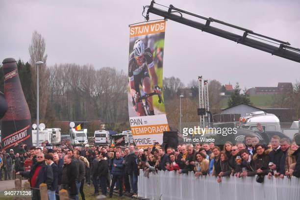 Stijn Vandenbergh of Belgium and Team AG2R La Mondiale / Fans / Public / Banner / during the 102nd Tour of Flanders 2018 - Ronde Van Vlaanderen a...
