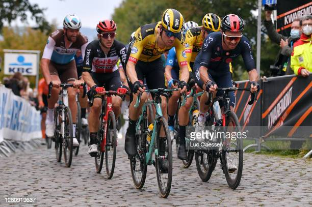 Stijn Vandenbergh of Belgium and Team Ag2R La Mondiale / Jasper De Buyst of Belgium and Team Lotto Soudal / Timo Roosen of The Netherlands and Team...