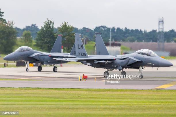 F-15E Stike Eagles maneuver onto the runway
