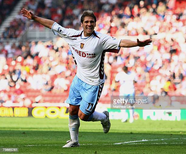 Stilian Petrov of Aston Villa celebrates his goal during the Barclays Premiership match between Middlesbrough and Aston Villa at the Riverside...