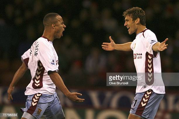 Stiliyan Petrov of Aston Villa celebrates scoring his team's first goal with team mate Gabriel Agbonlahor during the Barclays Premiership match...