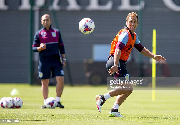 Stiliyan Petrov of Aston Villa in action during a Aston Villa training session at the club's training ground at Bodymoor Heath on July 04 2016 in...