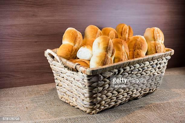 Still, bread in a wicker basket