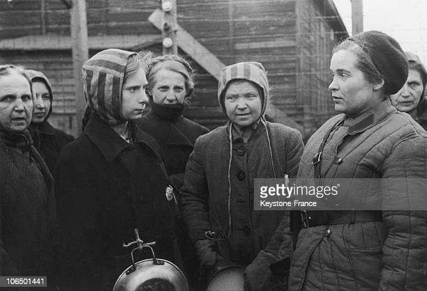 A still from Soviet documentary filmmaker Roman Karmen's film about the liberation of the Nazi labour camp at Königsberg in der Neumark Poland 5th...