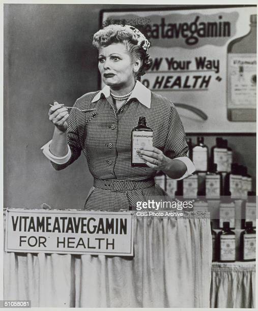 Still from the 1950s CBS television sitcom 'I Love Lucy' episode 30 'Lucy Does a Television Commercial' features American actress Lucille Ball as she...
