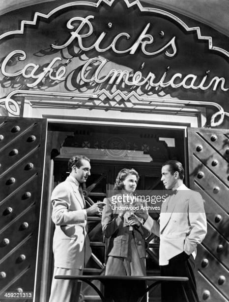 Still from the film, 'Casablanca,' Hollywood, California, 1942. L-R are Paul Henreid, Ingrid Bergman, Humphrey Bogart.