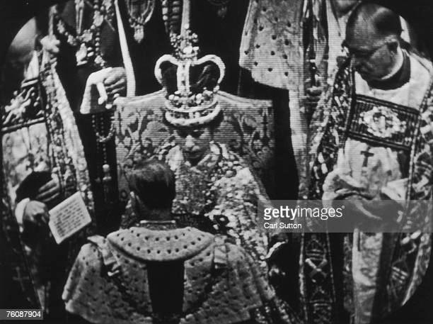 A still from the television coverage of the Coronation of Queen Elizabeth II at Westminster Abbey 2nd June 1953 Original publication Picture Post...