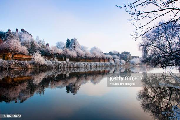 Still frosty river Severn at Worcester, England.
