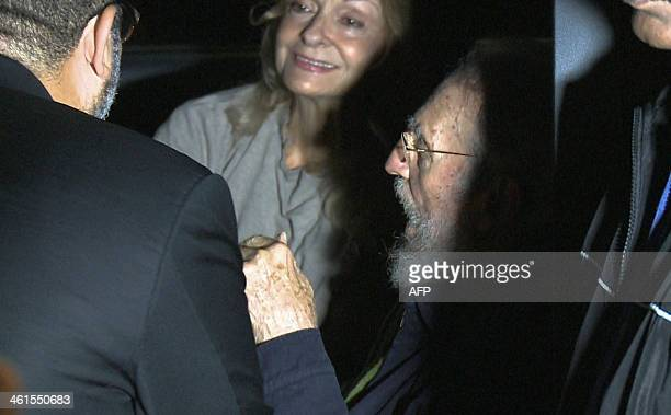 Still grab from a video taken on January 8 2014 of former Cuban president Fidel Castro and his wife Dalia Soto during the inauguration of the...