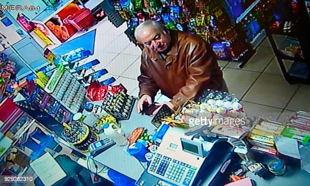 A still image from CCTV footage recorded on February 27 2018 shows former Russian spy Sergei Skripal buying groceries at the Bargain Stop convenience...