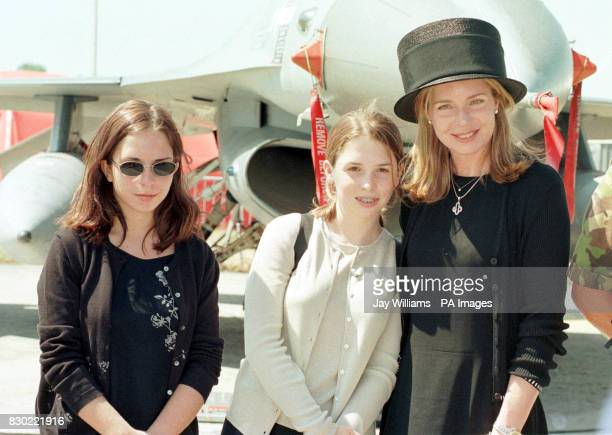 Still in her mourning black Queen Noor of Jordan visits the Royal International Air Tattoo at RAF Fairford Gloustershire with her daughters Princess...
