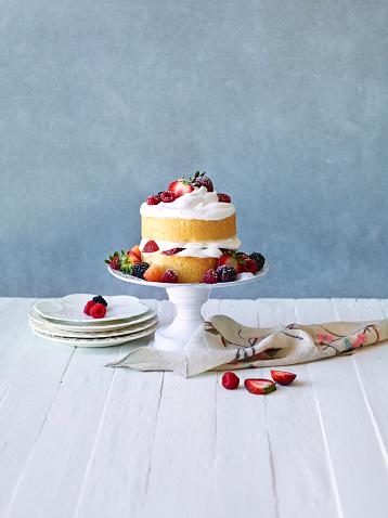 Still LIfe: Berry Cream Layer Cake - gettyimageskorea