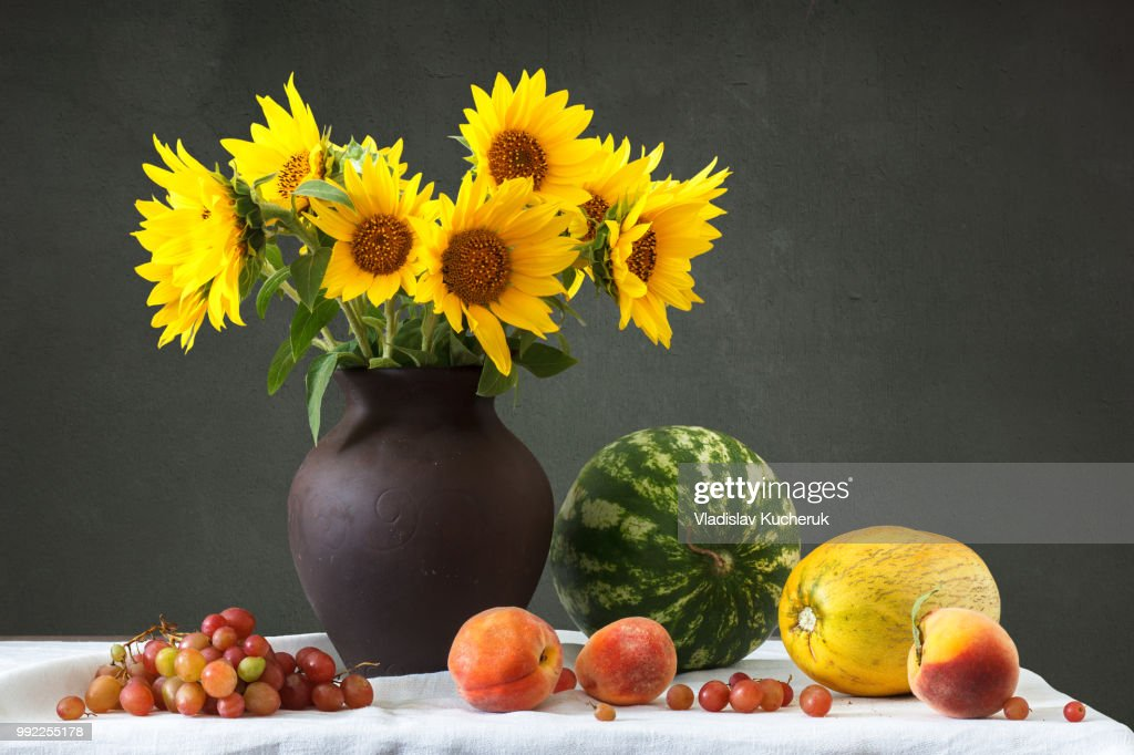 Still Life Bouquet Of Sunflowers Stock Photo