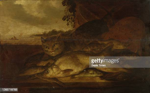 Cat with fish, oil on oak wood, 53 x 83 cm, Monogrammed in the middle at the edge of the table: PD v T [P inscribed to D], Pieter de Putter,...