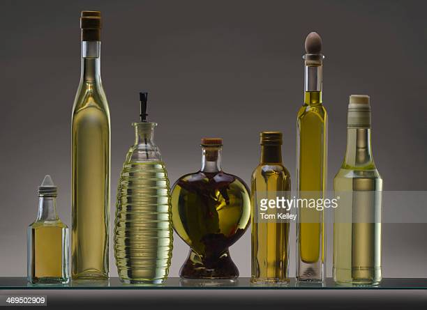 Still life featuring a collection of olive oil bottles 2011