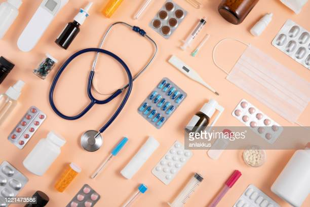 still life knolling with medical supplies - medical supplies stock pictures, royalty-free photos & images