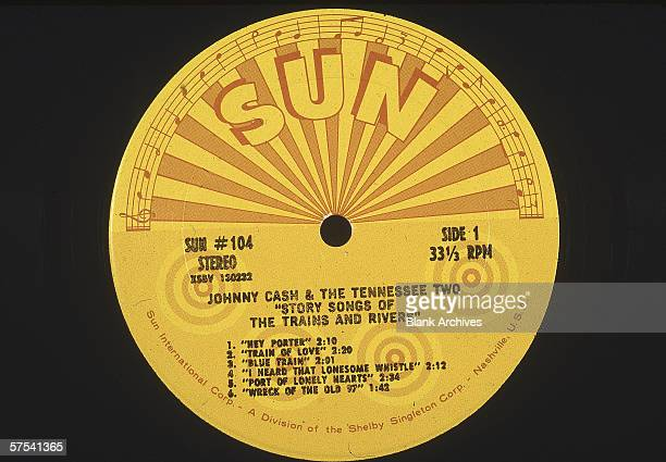 Still life of a 33 1/3 RPM record album of 'Story Songs of the Trains and Rivers' by Johnny Cash and the Tennessee Two on the Sun Records label, 1969.