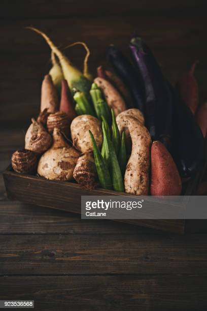 still life of a crate of assorted vegetables shot in dark moody light - farm to table stock photos and pictures
