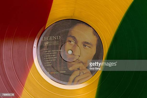 A still life of a of a limited edition record of Bob Marley music
