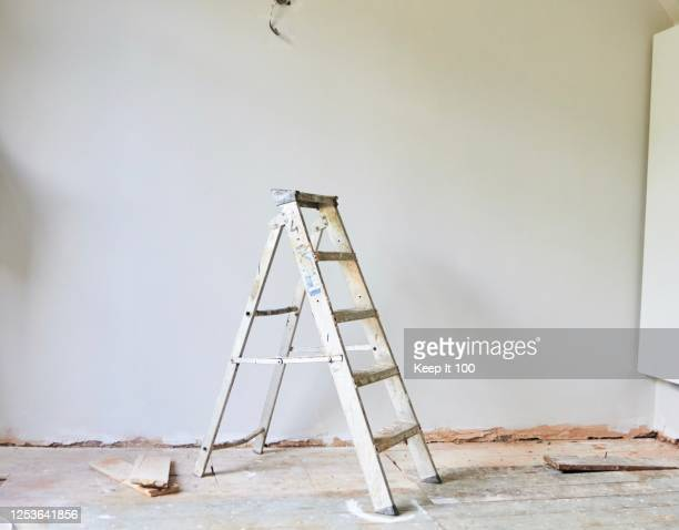 still life of a step ladder - renovation stock pictures, royalty-free photos & images