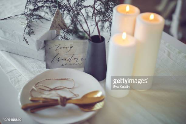 still life of a table setting for a christmas event - country christmas stock pictures, royalty-free photos & images