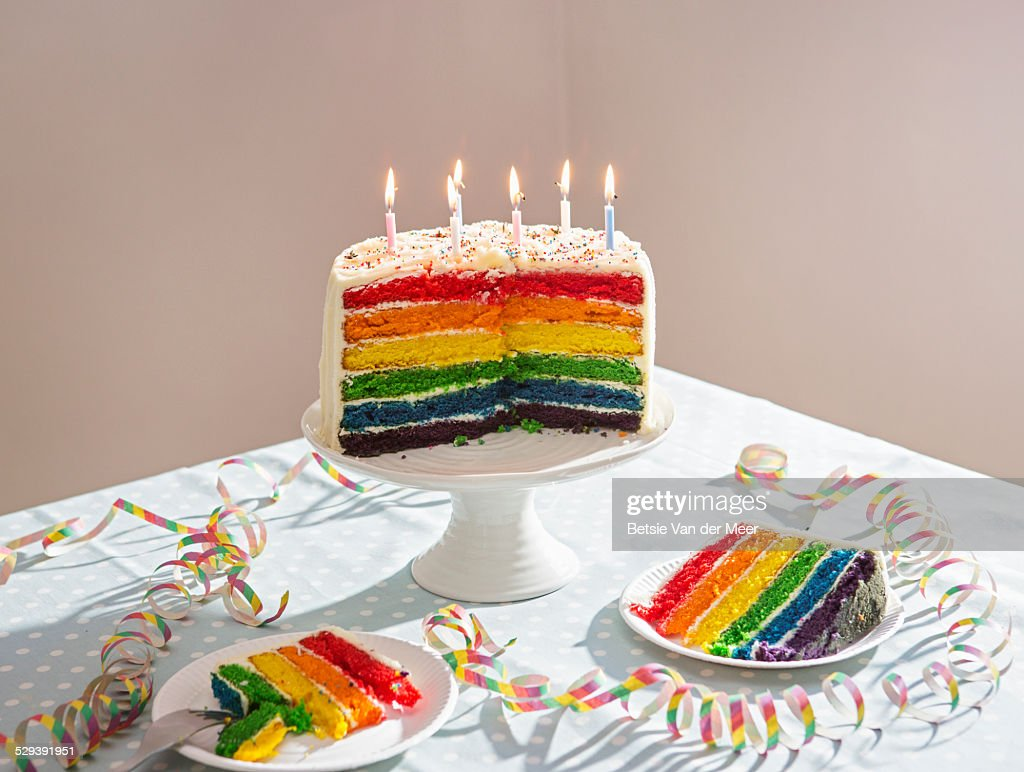 Still Life Of Birthday Cake On Table Stock Photo Getty Images