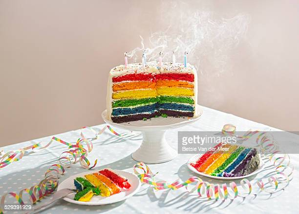 still life of birthday cake with blown out candles