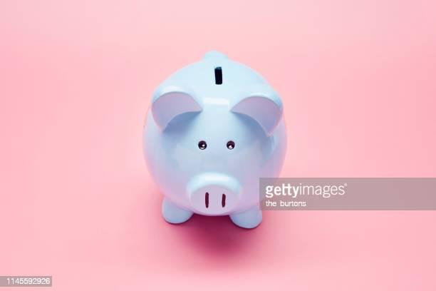 still life of blue piggy bank on pink background - sparschwein stock-fotos und bilder