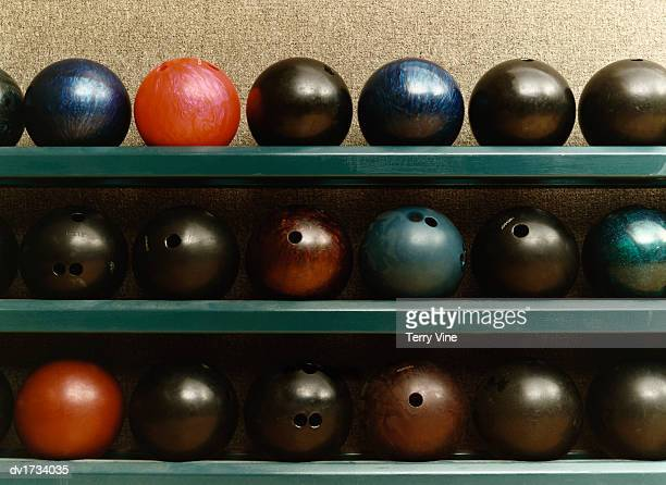 Still Life of Bowling Balls on a Shelf