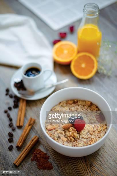 Still life of breakfast muesli, coffee and orange juice, taken on May 16, 2019.