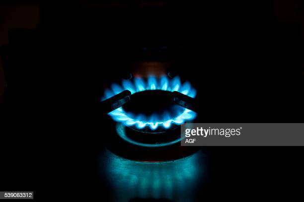 Still Life of Burning Gas Cooker with Black Background