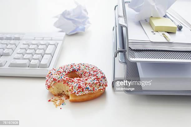 still life of donut on office desk