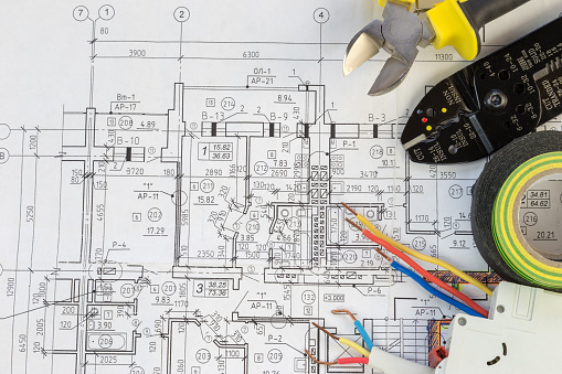 Still Life Of Electrical Components Arranged On Plans 1134076724