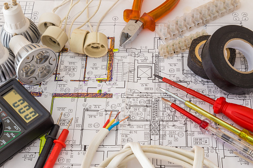 Still Life Of Electrical Components Arranged On Plans 861291240