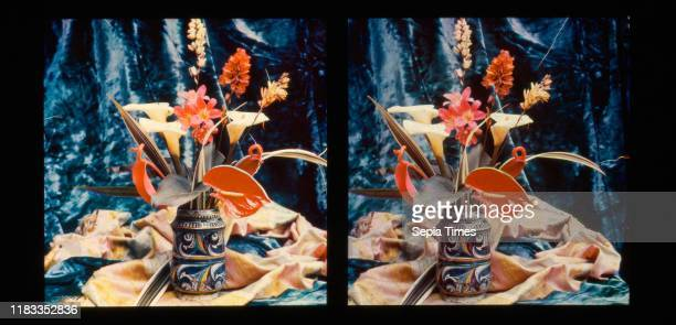 Still Life of Flowers in a Stein 18961903 Trichromie 2 13/16 Ñ 6 9/16 inches Transparencies AugusteMarieLouisNicolas Lumiere and LouisJean Lumiere