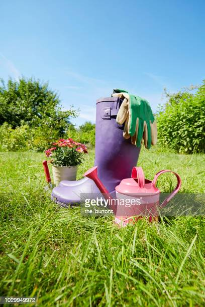 still life of gardening equipment with rubber boots and watering can in garden - purple glove stock pictures, royalty-free photos & images