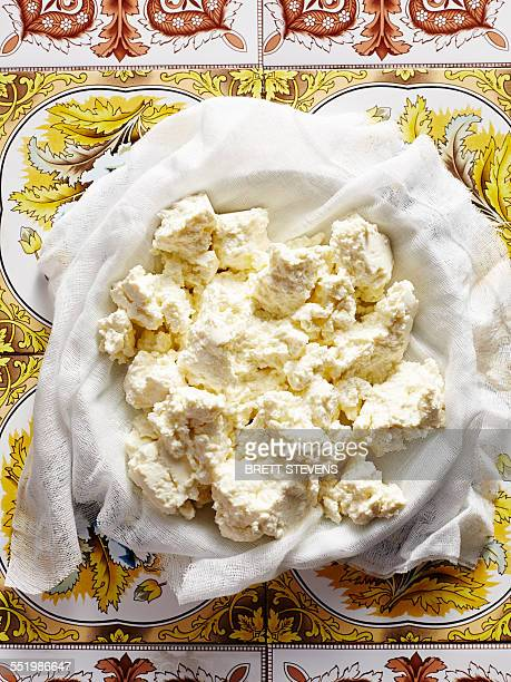 Still life of homemade Italian ricotta in bowl