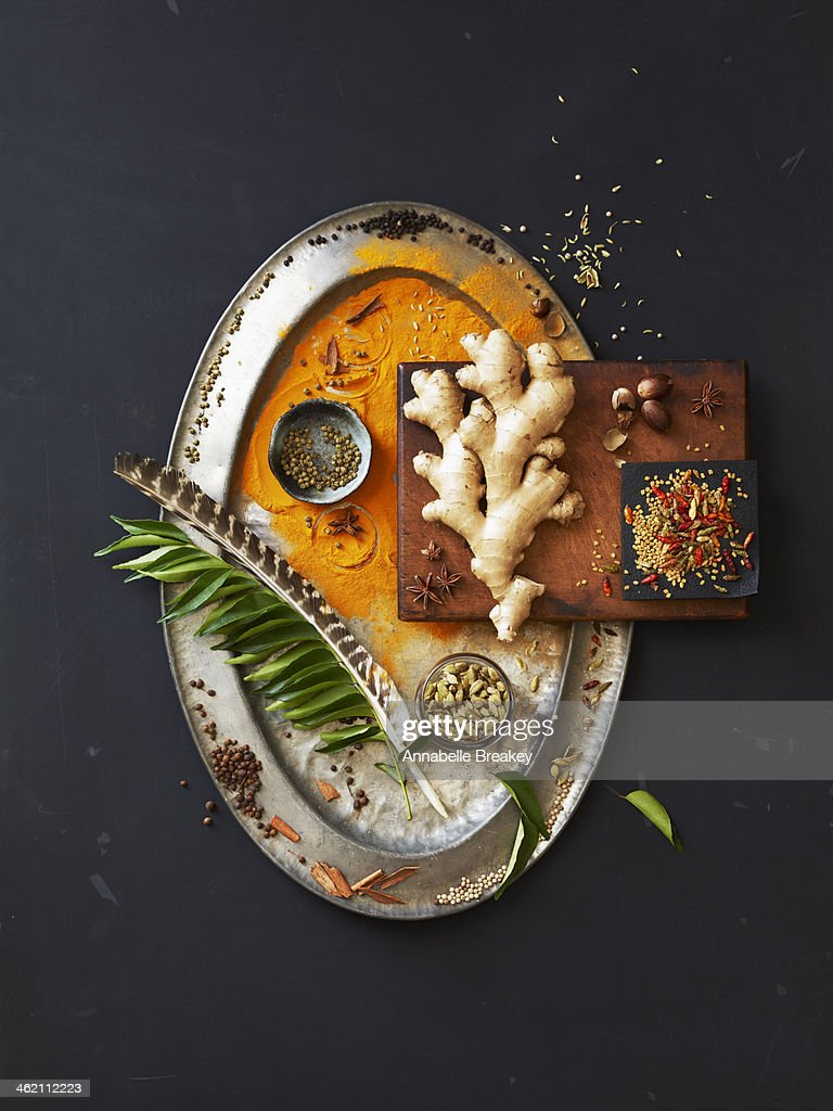 Still LIfe of Indian Spices on a Pewter Tray : Stock Photo