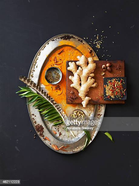 still life of indian spices on a pewter tray - indian food stock photos and pictures