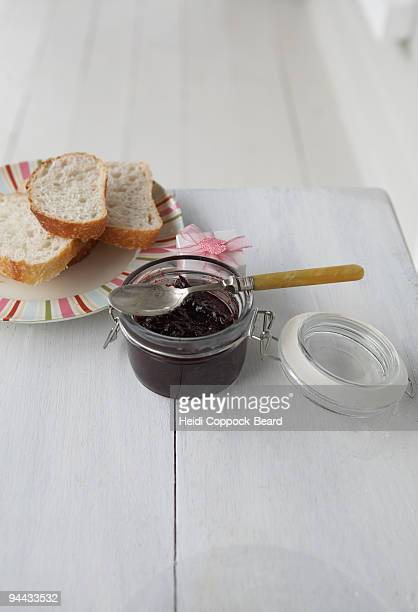 still life of jam and bread - heidi coppock beard stockfoto's en -beelden