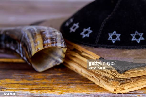 still life of jewish symbols for rosh hashana - jewish prayer shawl ストックフォトと画像