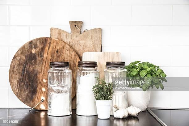 Still life of kitchen essentials