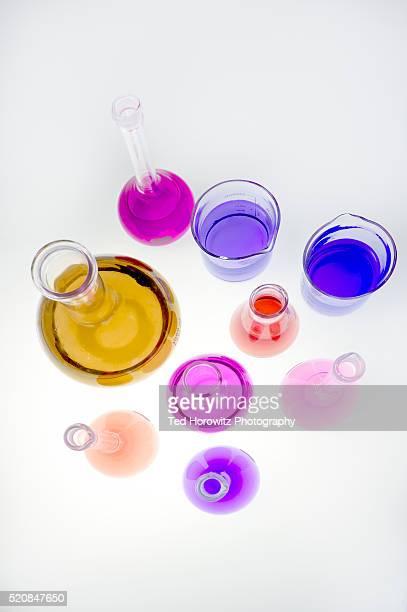 Still life of laboratory glassware, overhead view.